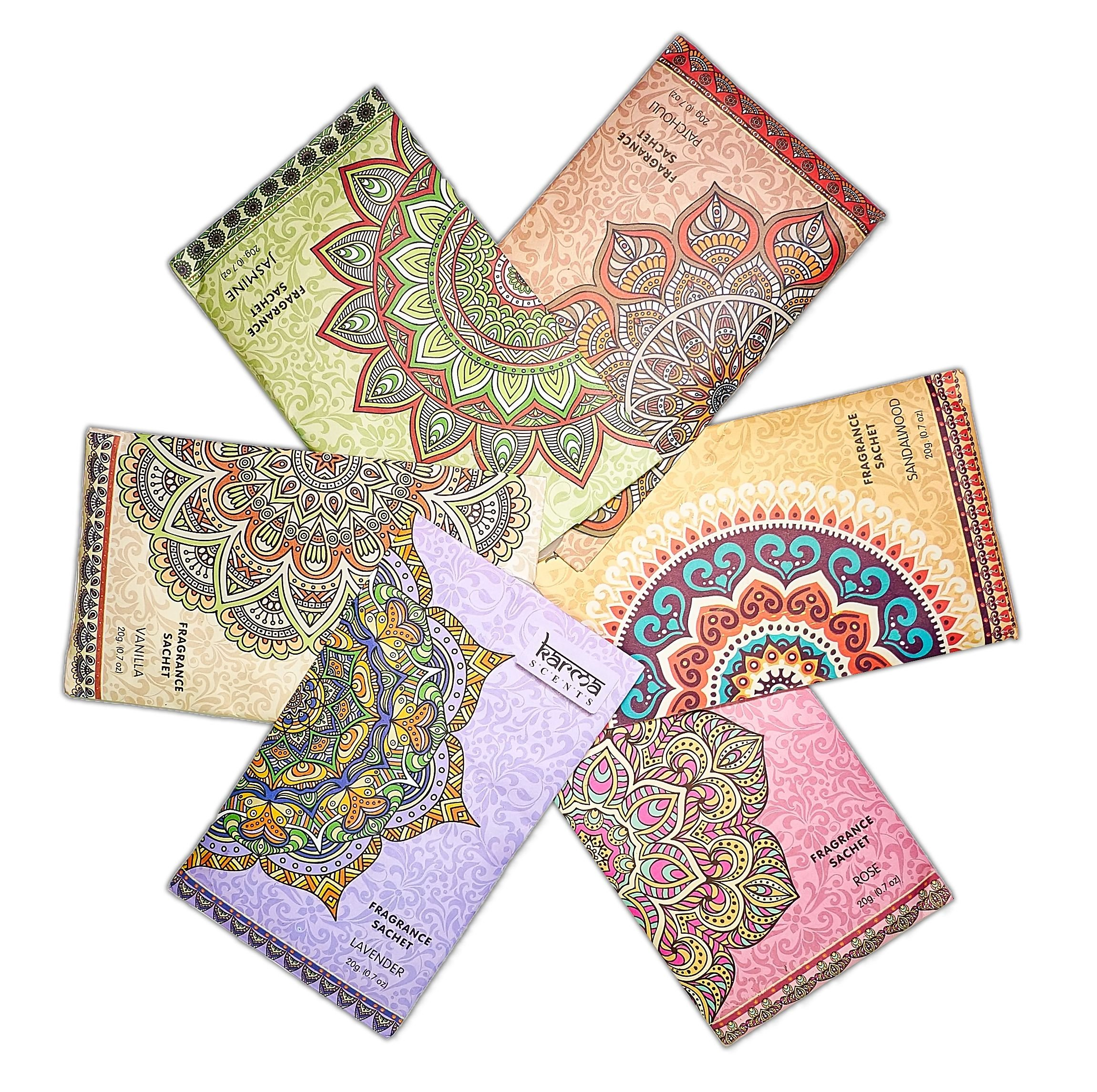 Premium Scented Sachets for Drawers, Closets and Cars, Lovely Fresh fragrance, Lot of 18 Bags, By Karma Scents, contains 6 great smelling flavors,Vanilla,Sandalwood,Jasmine,Lavender,Patchouli,And Rose by Karma Scents