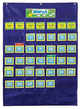 Amazon com carson dellosa deluxe calendar pocket chart 158156