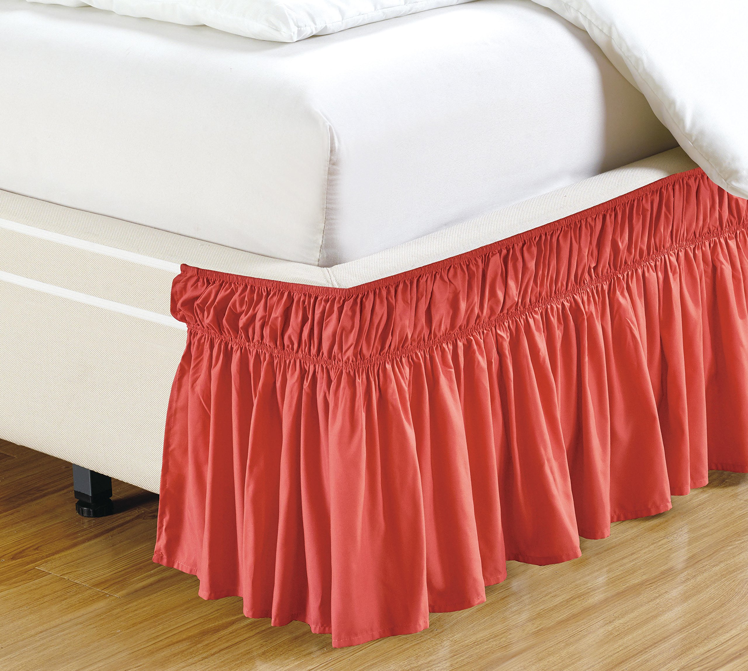 Fancy Collection Easy Fit Bed Ruffle wrap Around Elastic Bed Skirt With 17'' Drop New Easy Install Solid Color New (queen/king, Coral)