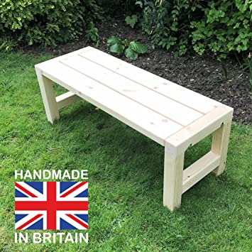 Wooden Garden Bench Handmade Chunky Solid Timber Patio Seat