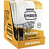 EMBER Best Biltong - Beef Jerky - Traditional British and Irish Steak. High Protein Biltong Snack - Perfect New Year Protein Gym Companion - No Sugar Healthy Snack, 10 x 30g Bags (Original 10 x 30g)