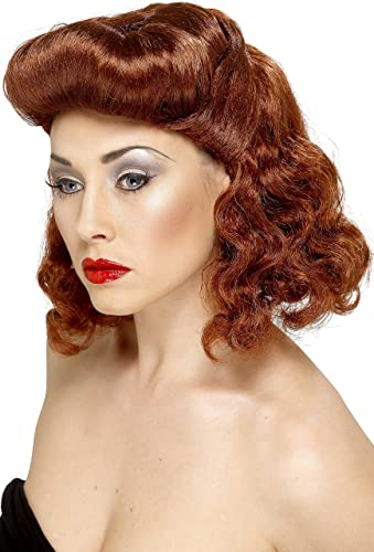 1940s Costumes- WW2, Nurse, Pinup, Rosie the Riveter Pin Up Girl Wig Auburn with Loose Curls $14.54 AT vintagedancer.com
