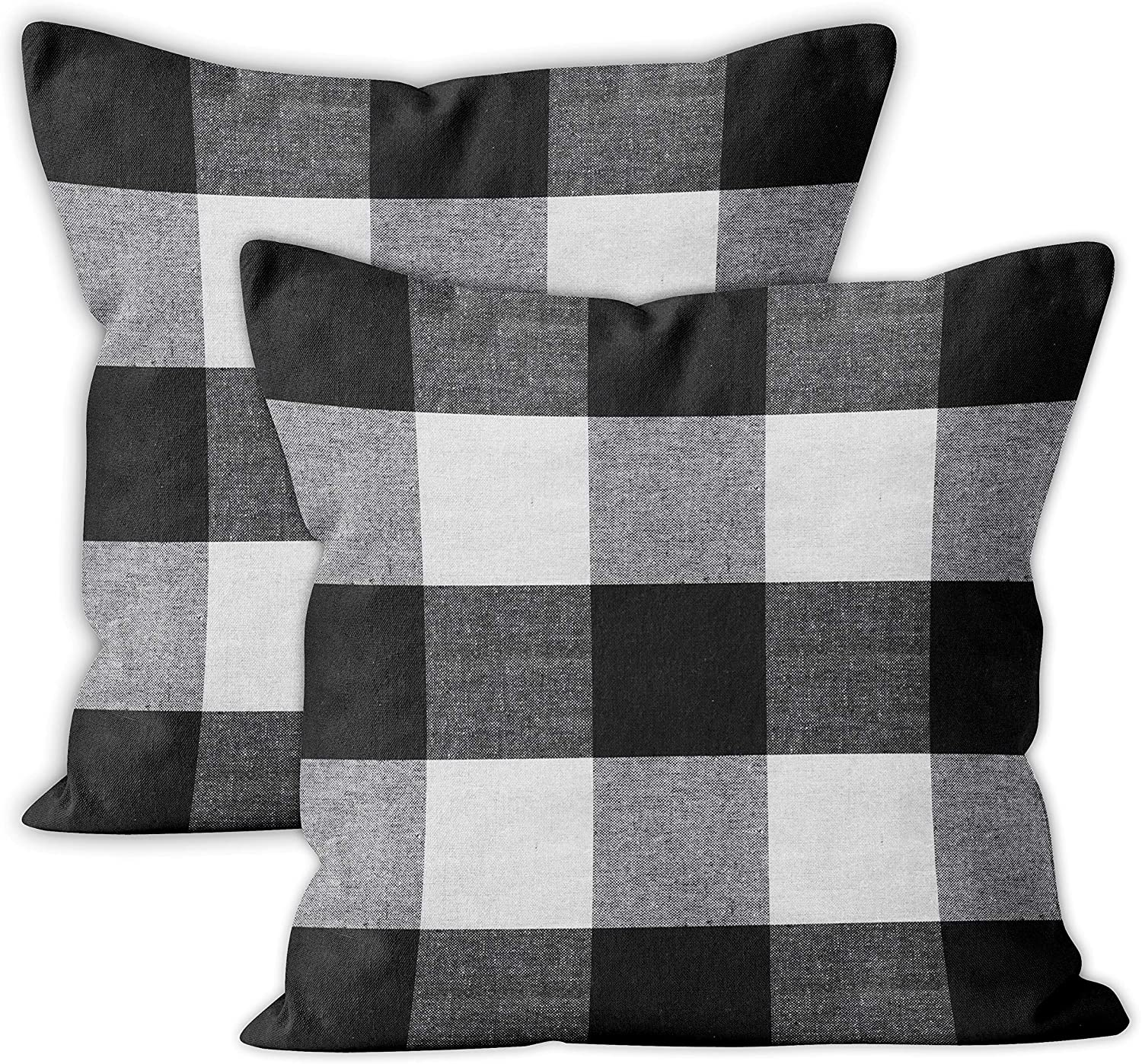 Encasa Homes Farmhouse Throw Pillow Cover 2pc Set - Buffalo Black Checks - 20 x 20 inch Recycled Cotton Square Accent Decorative Cushion Cover for Couch Sofa Chair Bed & Home