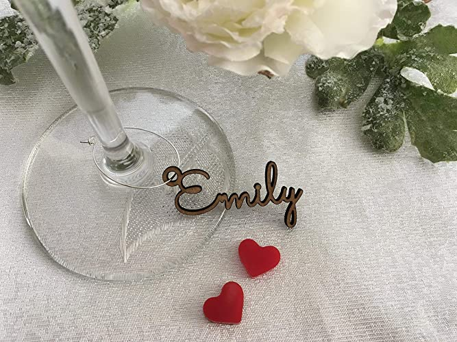 6cbff4e9199 Personalized Wine Glass Charms Laser Cut Names Place Cards Custom Signs  Name Gift Tags Wedding Favors Sign Place Cards Wooden Place Setting Small  Laser Cut ...
