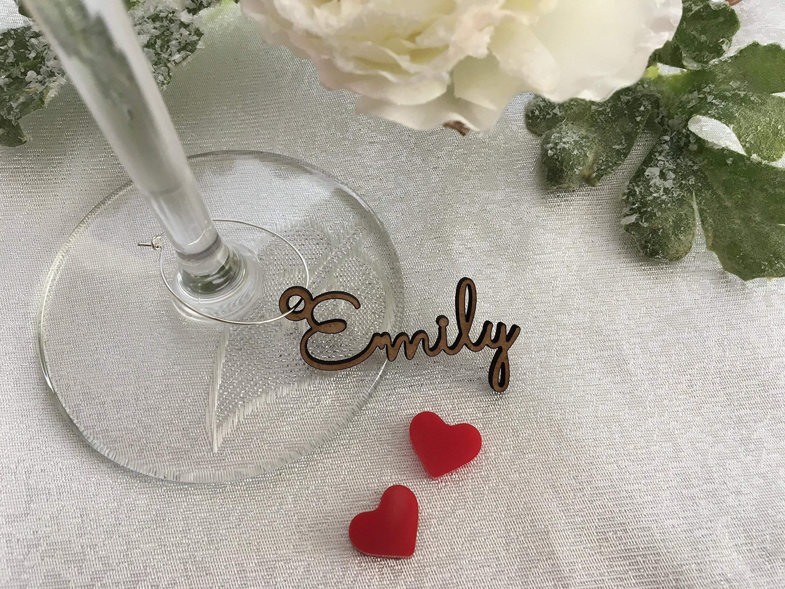 Personalized Wine Glass Charms Laser Cut Names Place Cards Custom