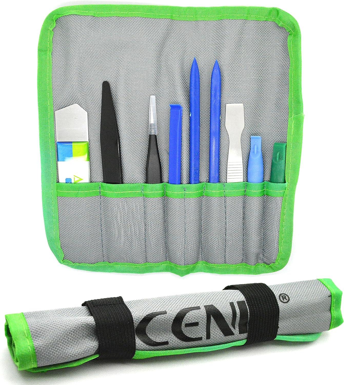 ACENIX® - Juego de 9 herramientas de reparación de palanca de apertura profesional con pinzas de nailon no abrasivo y pinzas antiestáticas