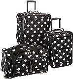 Rockland Luggage 3 Piece Printed Luggage Set, Black Dot, Medium