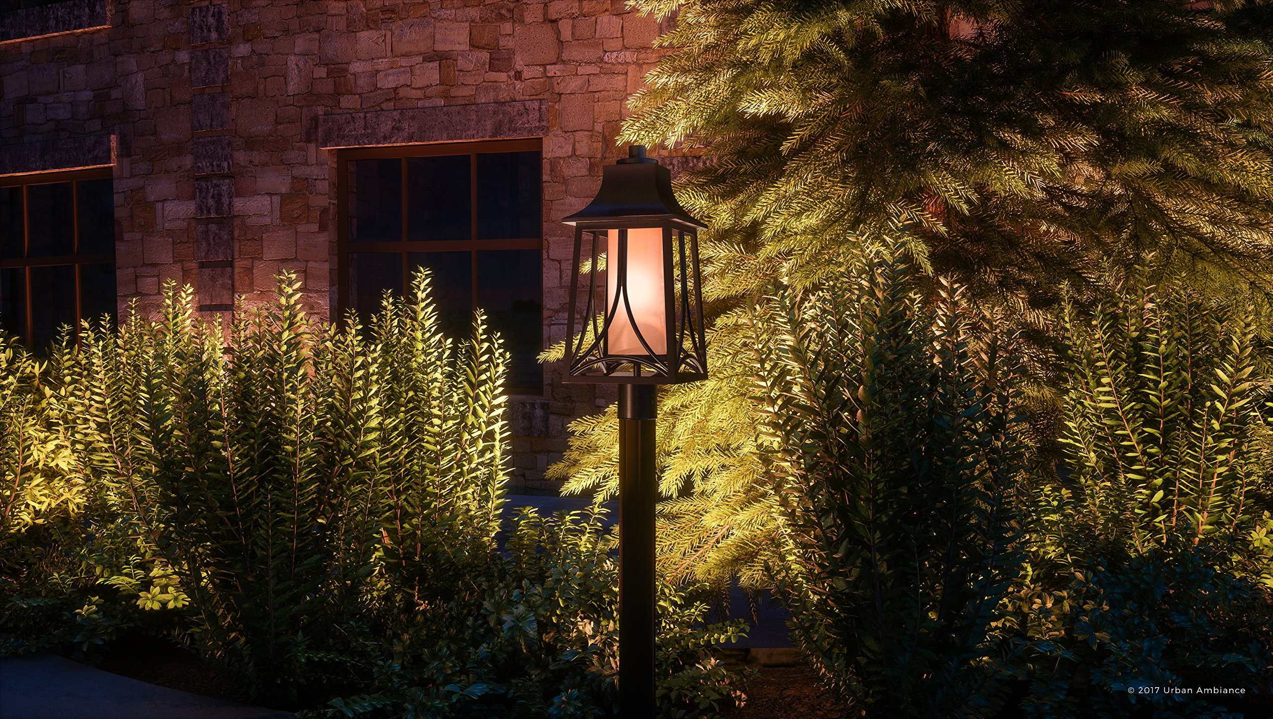 Luxury Asian Outdoor Post Light, Large Size: 21''H x 8.5''W, with Craftsman Style Elements, Airy and Simplistic Design, Beautiful Royal Bronze Finish and Light Amber Glass, UQL1083 by Urban Ambiance by Urban Ambiance (Image #2)