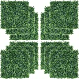"""Yaheetech 12 PCS 20""""x 20"""" Artificial Boxwood Panels Topiary Hedge Plant, Privacy Hedge Screen UV Protected Greenery Wall, Dec"""