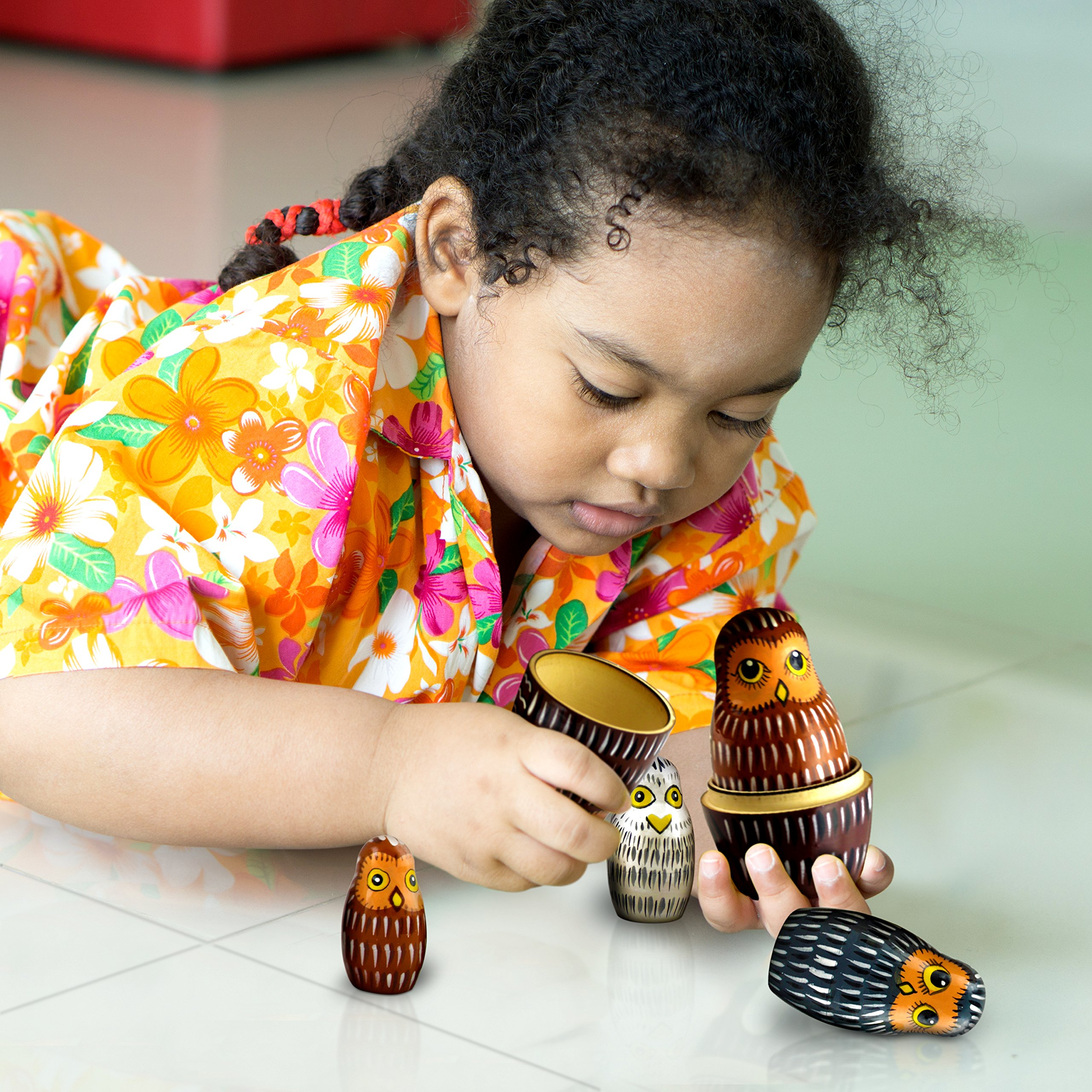 Owl Nesting Dolls - Owl Decor - Owl Gifts - Owl Toy - Matryoshka set 7 dolls by MATRYOSHKA&HANDICRAFT (Image #8)