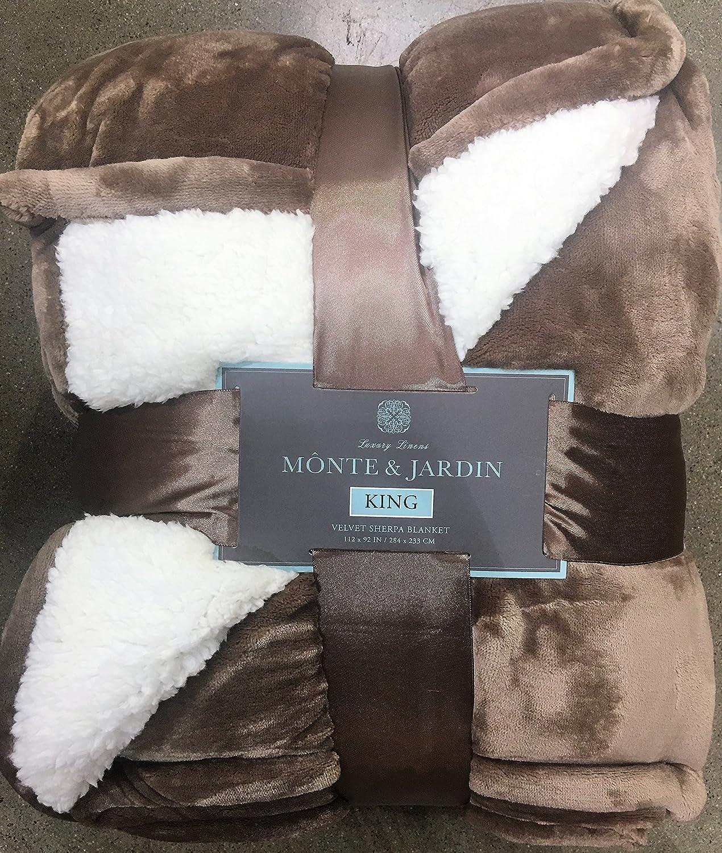Monte & Jardin Luxury Linens Velvet Sherpa Reversible Blanket Super Sized (King 112 x 92, Golden Brown)