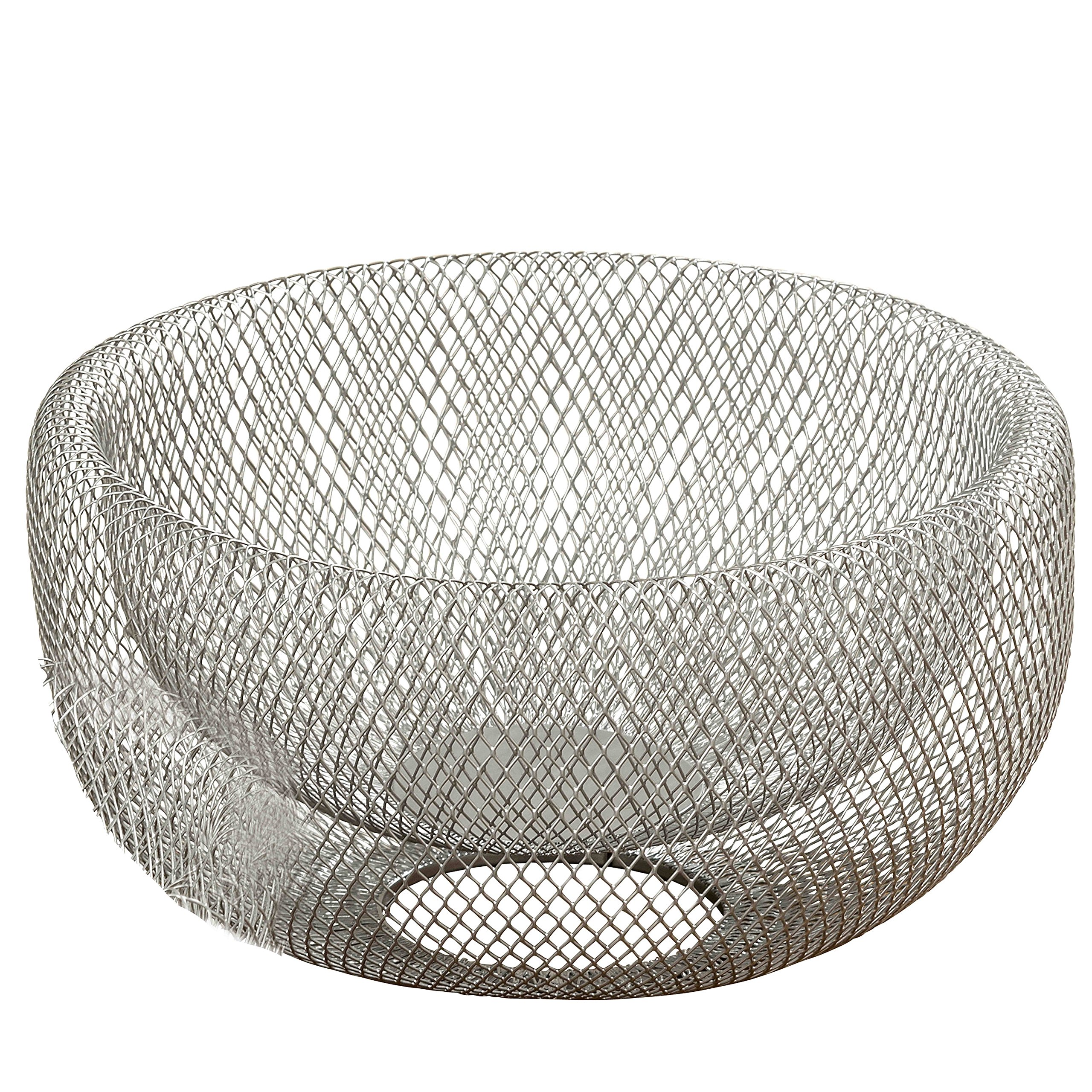 WHW Whole House Worlds Iconic Modern Wire Mesh Fruit Bowl, Art Museum Style, Zinc, Large, 11 Inches Diameter x 6 Inches Tall