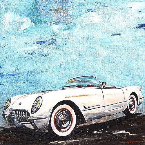 Amazon Com White 1954 Chevrolet Corvette Roadster Artist Signed