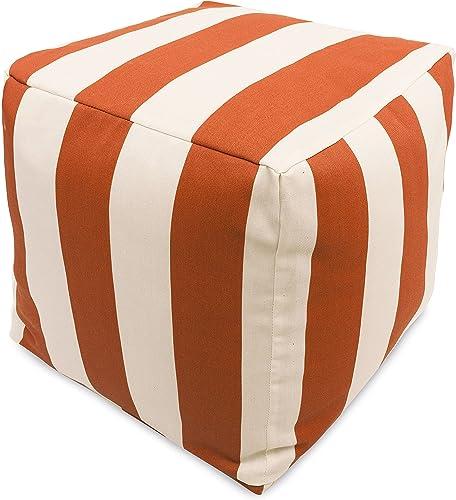 Majestic Home Goods Burnt Orange Vertical Stripe Indoor Outdoor Bean Bag Ottoman Pouf Cube 17 L x 17 W x 17 H