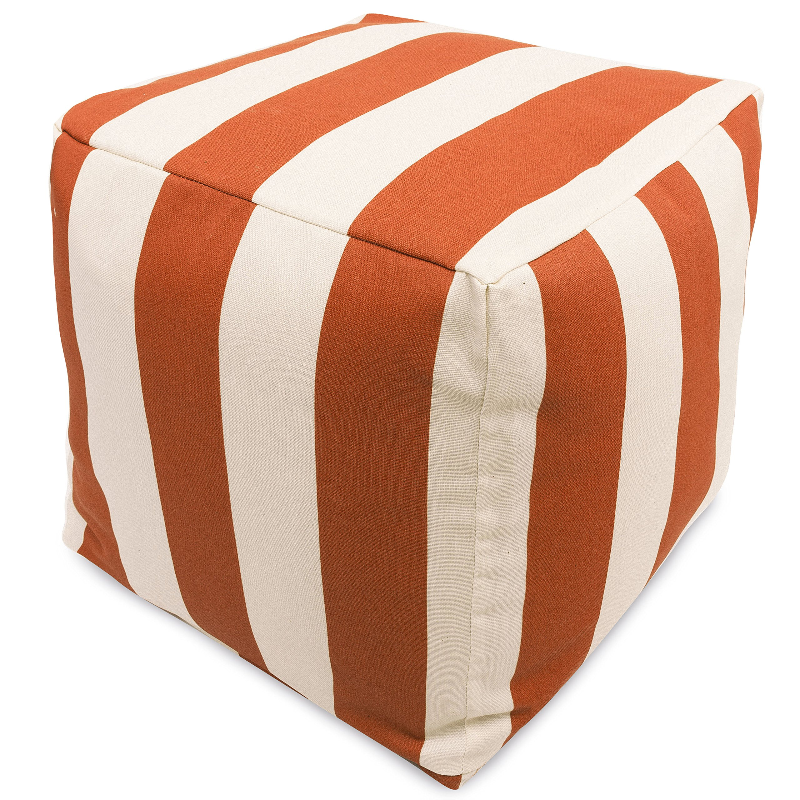 Majestic Home Goods Burnt Orange Vertical Stripe Indoor/Outdoor Bean Bag Ottoman Pouf Cube 17'' L x 17'' W x 17'' H