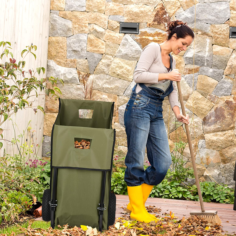 Sac pour Feuilles de 160 litres brouette Relaxdays Charrette de Jardin Vert Chariot mortes 2 Roues