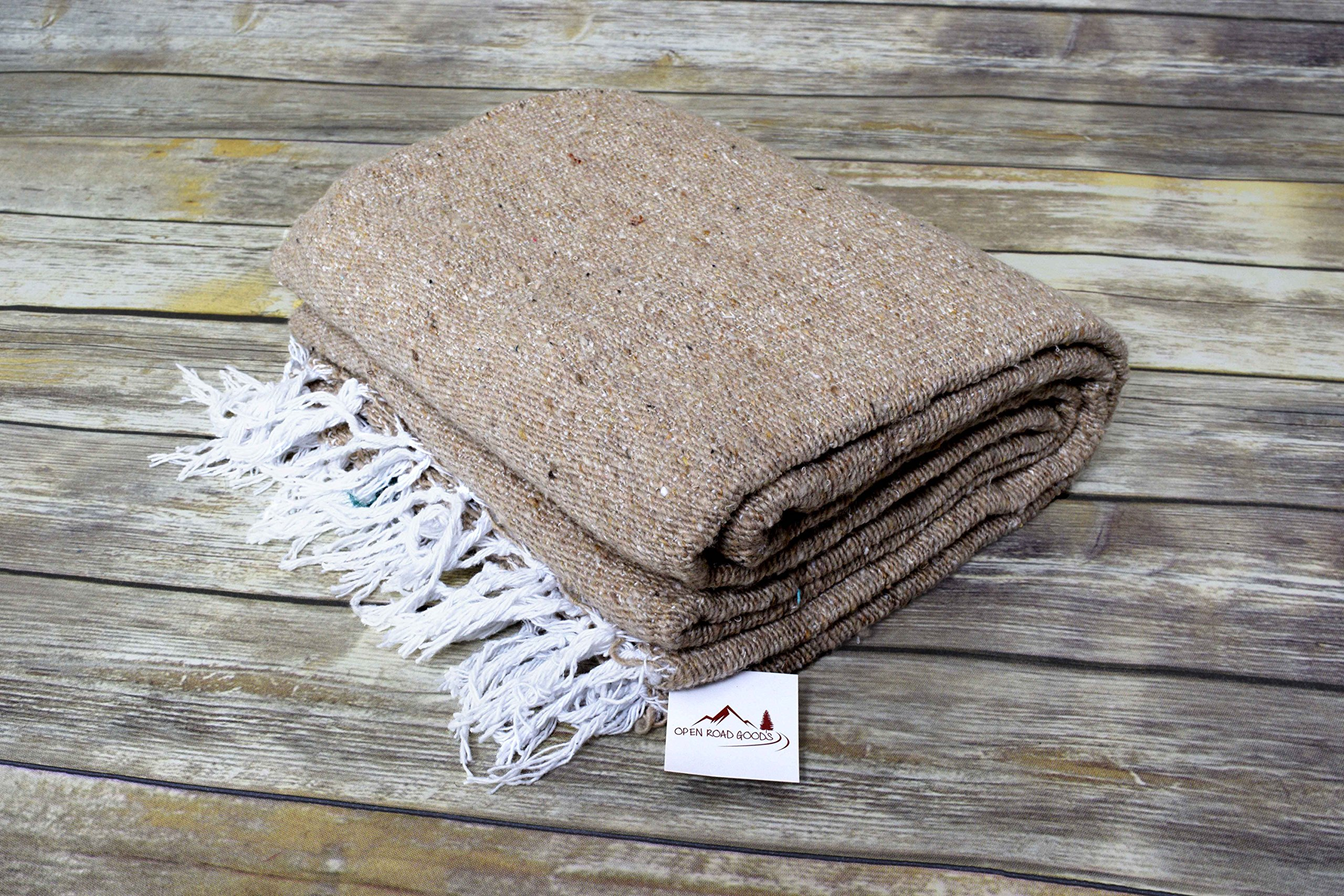 Open Road Goods Handmade Tan/Khaki Yoga Blanket - Thick Mexican Blanket or Throw - Made for Yoga! by Open Road Goods (Image #3)