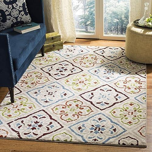 Safavieh Sagamore Collection SAG425A Floral Trellis Non-Shedding Stain Resistant Living Room Bedroom Area Rug