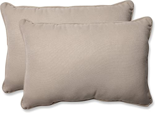 Pillow Perfect Decorative Beige Solid Toss Pillow, Rectangle, 2-Pack