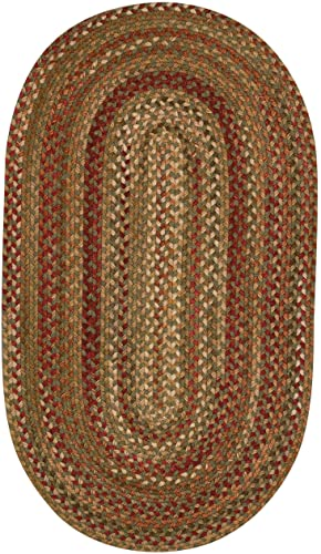 Capel Rugs Manchester Oval Braided Area Rug, 2 x 3 , Sage Red Hues