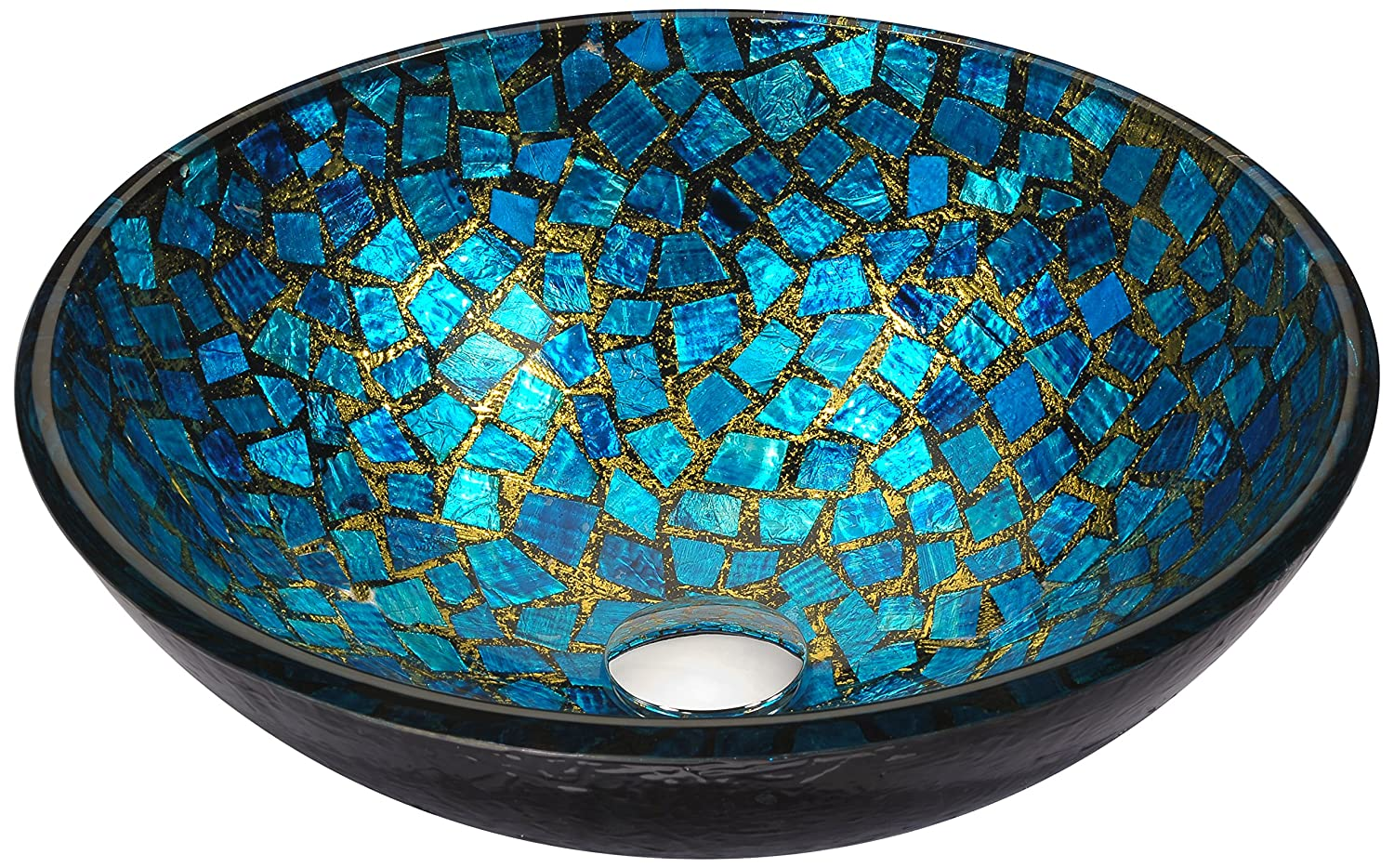 ANZZI Mosaic 16.5 in x 16.5 in Modern Tempered Deco Glass Round Vessel Bathroom Sink in Blue/Gold Mosaic Finish | Lavatory Top Mount Installation Oval Toilet Sink | LS-AZ198