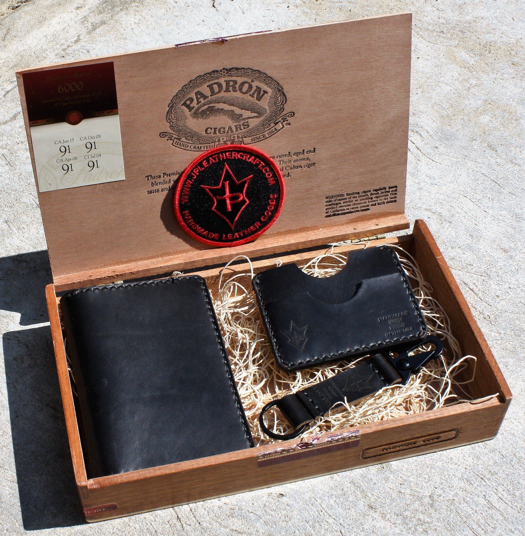 JP Leathercraft Handmade Cigar Box Gift Set Leather Passport cover Minimalist Wallet Key Keeper