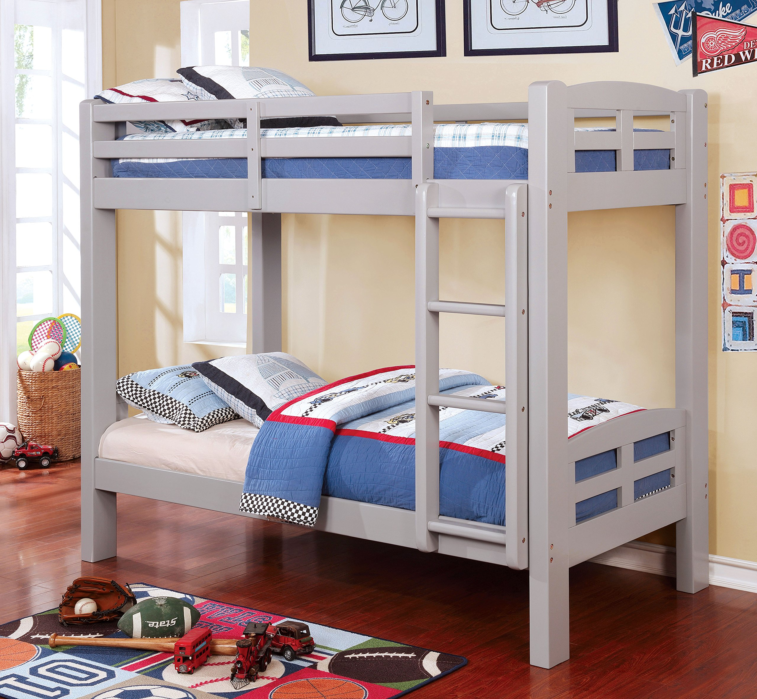 HOMES: Inside + Out IDF-BK618GY Tenner Bunk Bed Not Applicable, Twin / Twin