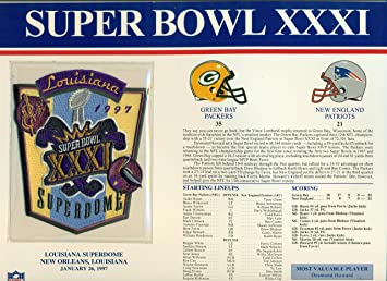 e5ef92b61 Image Unavailable. Image not available for. Color  Super Bowl XXXI Official  Patch Green Bay Packers vs New England Patriots ...