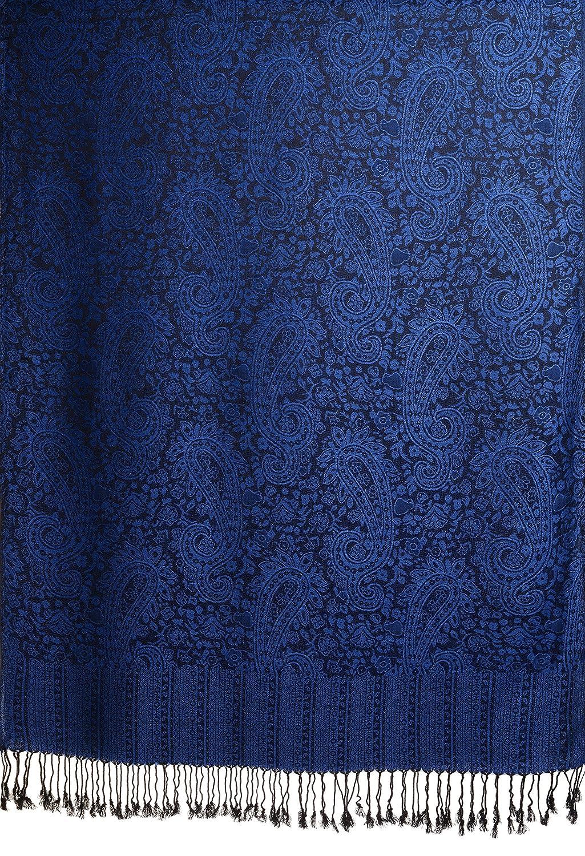 Medium Blue & Black Paisleys Pashmina Feel With Tassels - Scarf