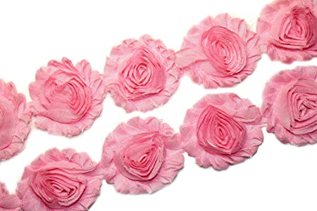 frayed chiffon 2.5 Vintage Pink shabby flower trim rose flowers by the yard JT vintage pink