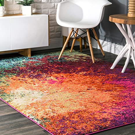 Amazon Com Nuloom Donya Abstract Area Rug 5 3 X 7 7 Multi Furniture Decor