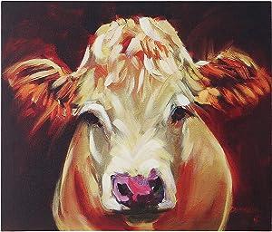 Creative Co-op Brown Cow Canvas Wall Decor