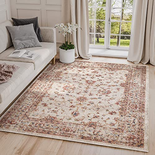 Abani Rugs Large Beige Red Distressed Motif Area Rug Vintage Traditional Style Accents, Babylon Collection Turkish Made Superior Comfort Construction Stain Shedding Resistant, 4 x 6 feet