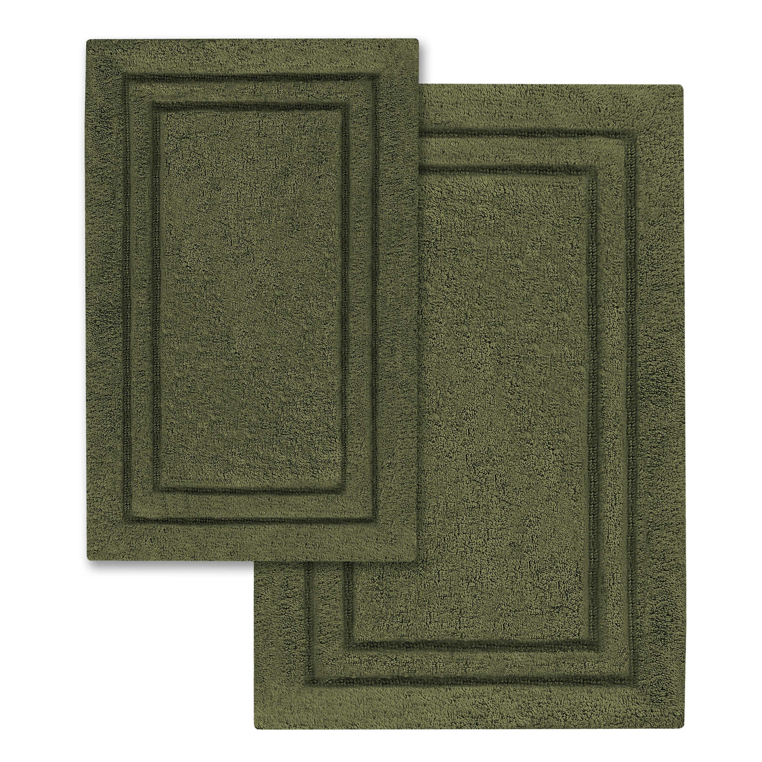 Superior 2-Pack Bath Rugs, Premium 100% Combed Cotton with Non-Slip Backing, Soft, Plush, Fast Drying and Absorbent - Forest Green, 20'' x 30'' and 24'' x 36'' Bath Mat Set