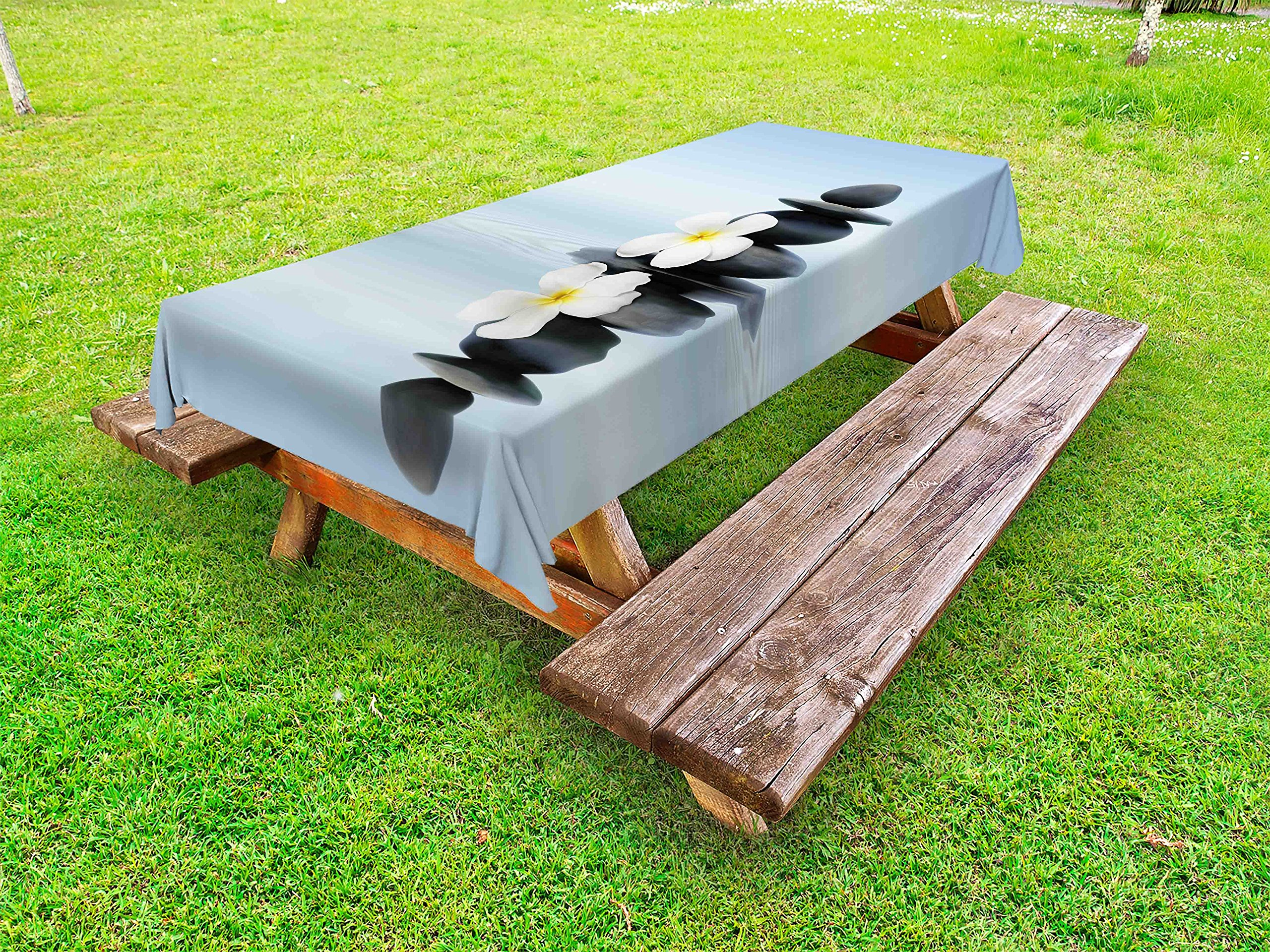 Ambesonne Spa Outdoor Tablecloth, Hot Zen Massage Stones with Asian Frangipani Plumera Reflection on The Waters, Decorative Washable Picnic Table Cloth, 58 X 84 inches, Pale Blue and Grey
