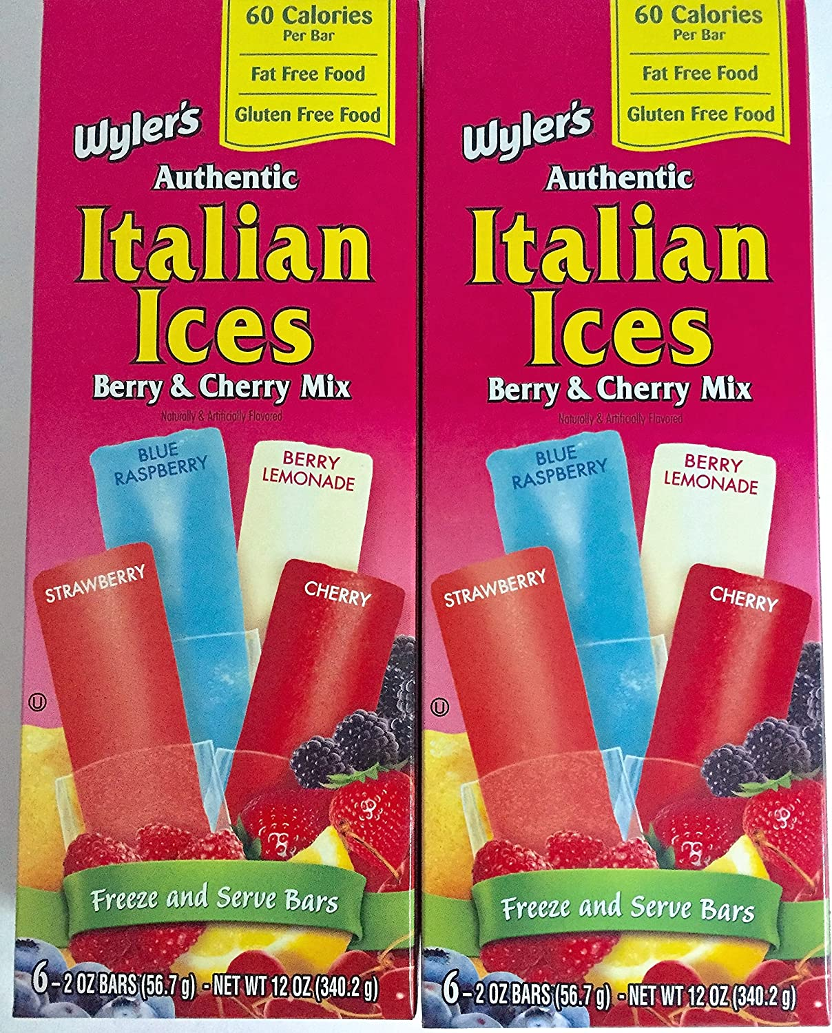 Wyler's Authentic Italian Ices assorted flavors, 12 oz boxes (2 Pack -- 12 Bars)