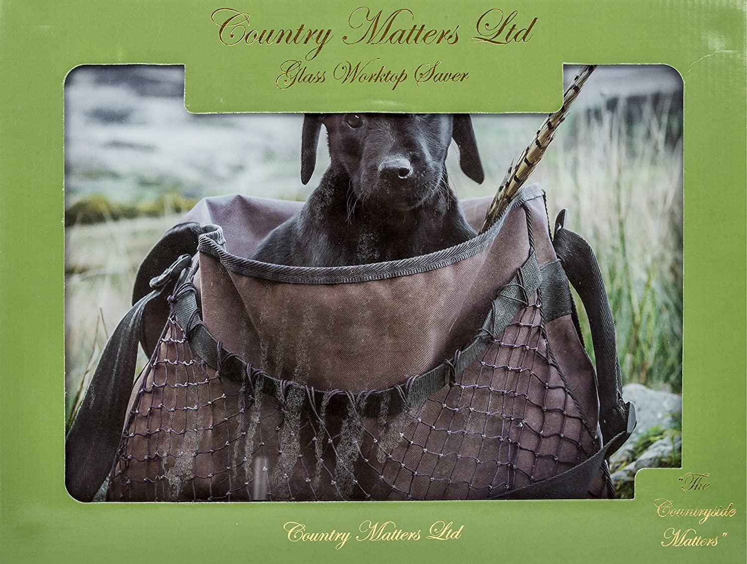 COUNTRY MATTERS Lap Pup in Game Bag Glass Work Top Saver, Multi-Colour, 40 x 30 x 0.05 cm CMGWS0046