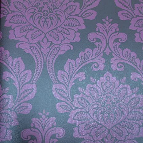 Wallquest Grey Damask Quality Wallpaper Textured Finish Easy To