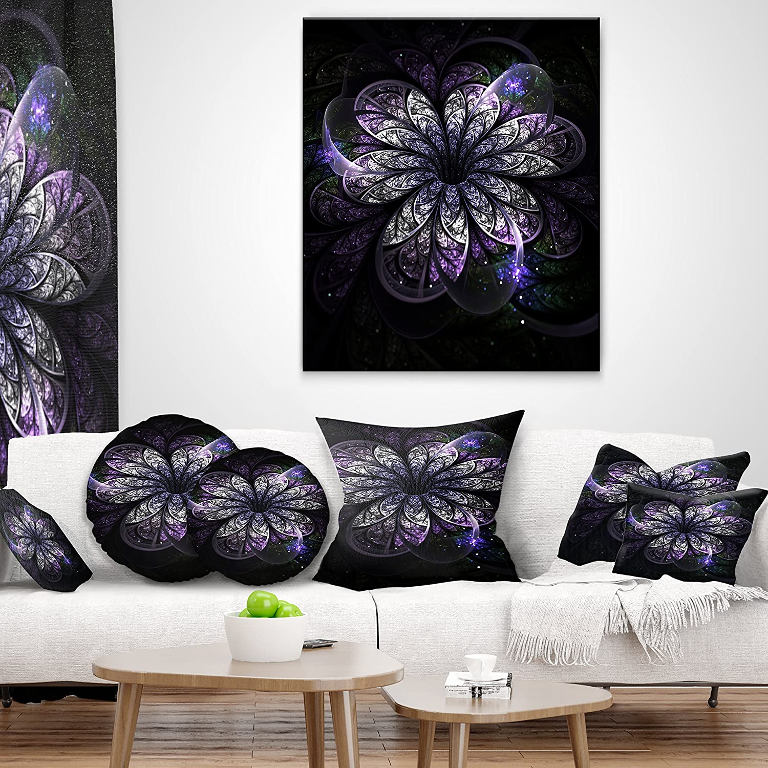 in Sofa Throw Pillow 18 in x 18 in Designart CU8707-18-18 Green Fractal Flower in Dark Floral Cushion Cover for Living Room Insert Printed On Both Side