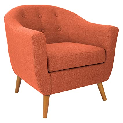 Lumisource Rockwell Mid Century Modern Accent Counter Chair, Orange
