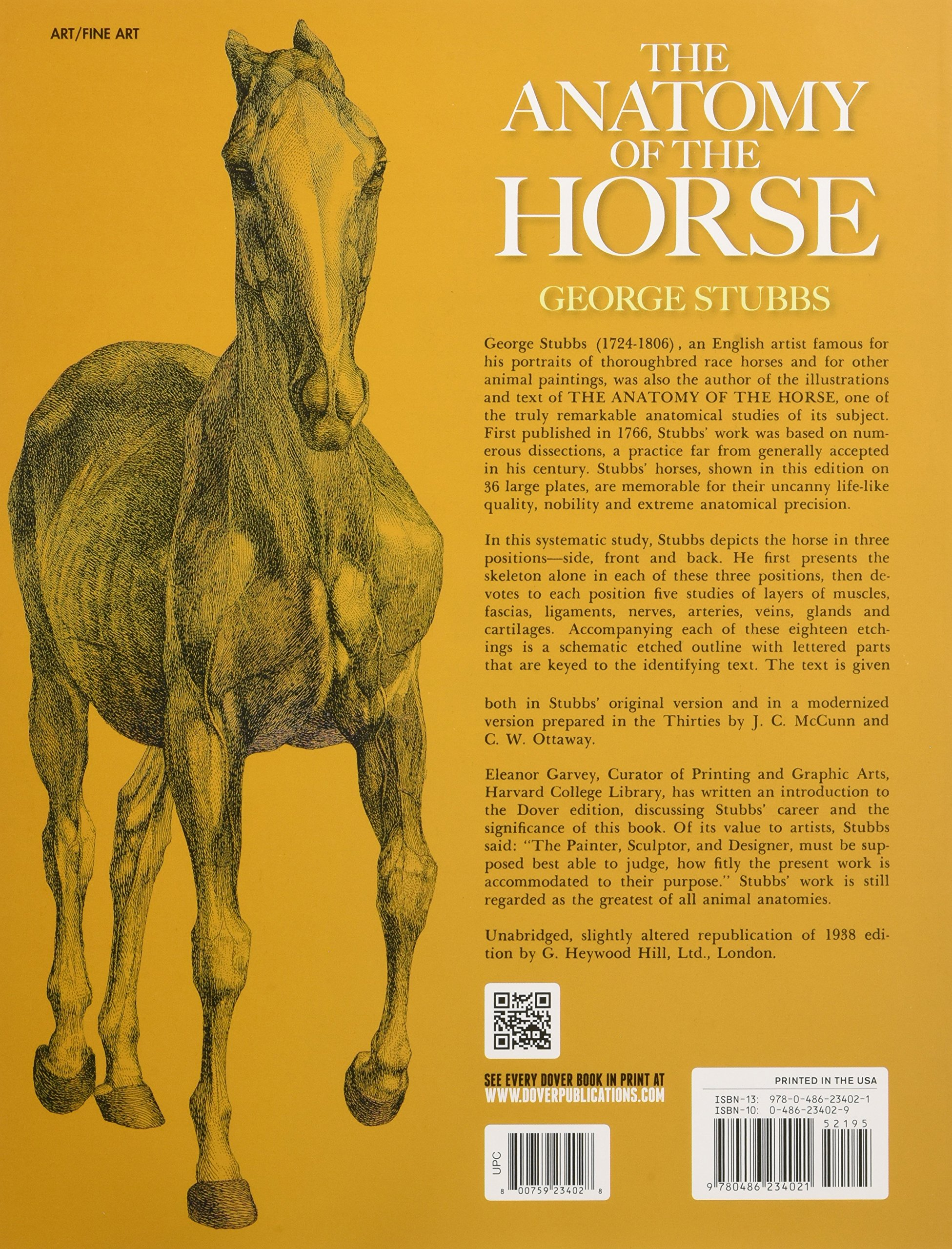The Anatomy of the Horse (Dover Anatomy for Artists): George Stubbs ...