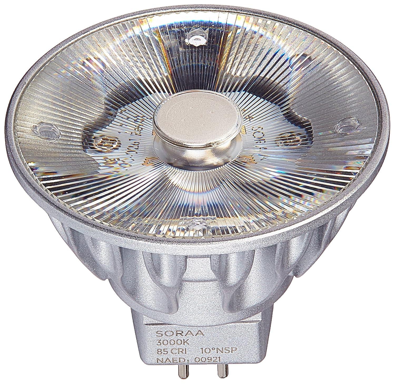 Bulbrite SM16 07 10D 830 03 SORAA 7.5W LED MR16 3000K Brilliant 10° Dimmable Light Bulb Silver