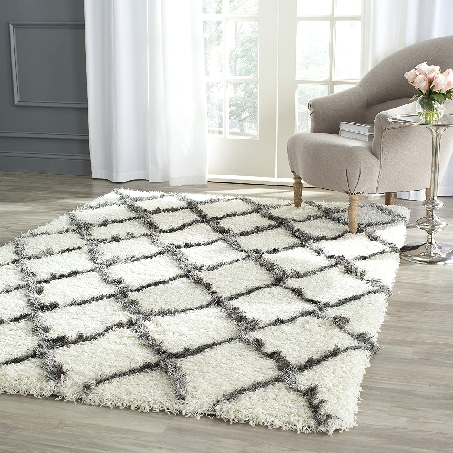 amazoncom safavieh moroccan shag collection msg343a ivory and grey area rug 8u0027 x 10u0027 kitchen u0026 dining