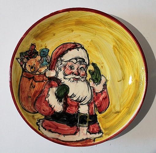 f28363af0c02 Papá Noel-Plato de cerámica decorado con mano de diámetro Cm 17,5 ...