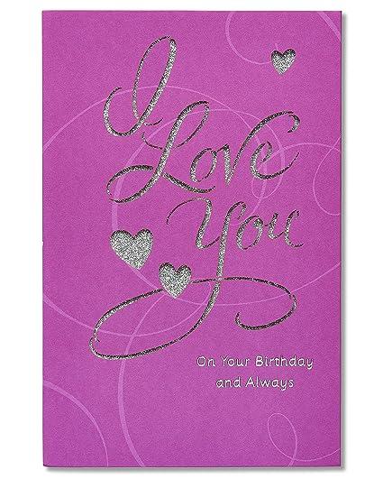 Amazon American Greetings Romantic Birthday Card With Glitter