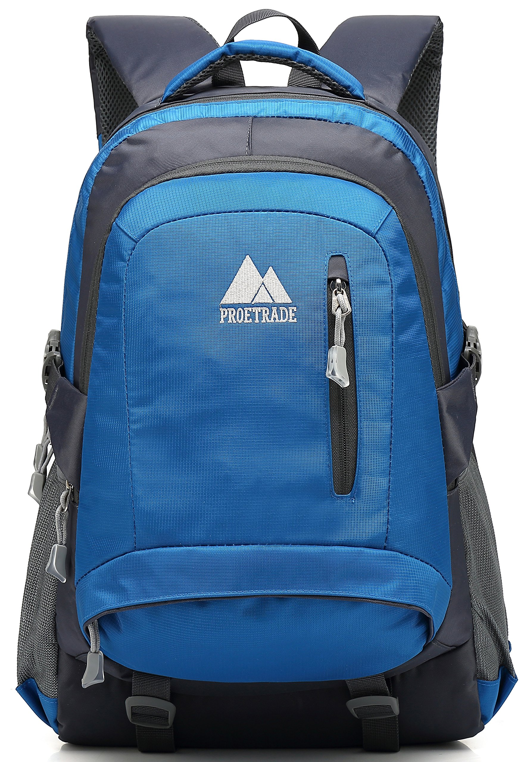 School Backpack BookBag For College Travel Hiking Fit Laptop Up to 15.6 Inch Water Resistant (Blue)