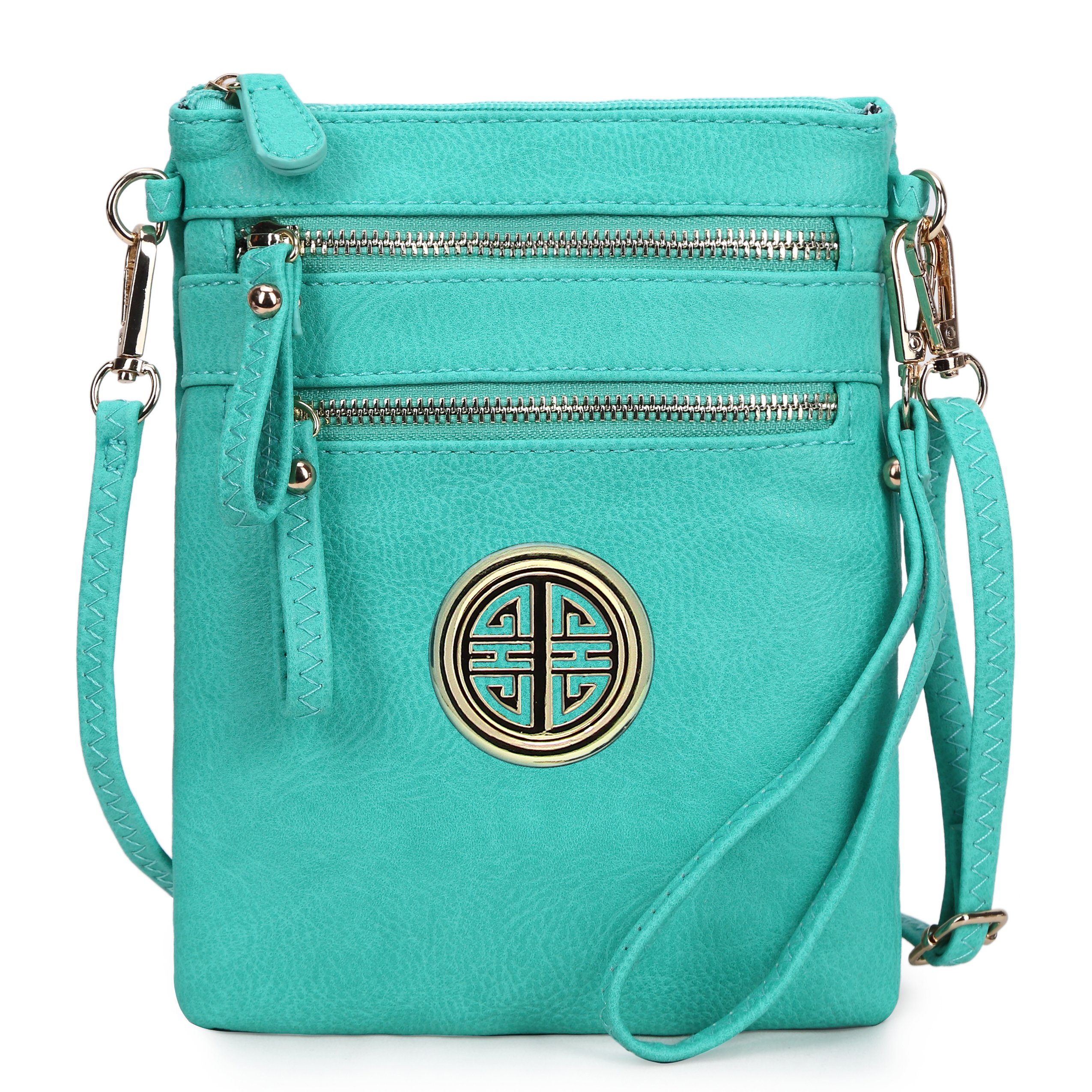 Solene Women's Faux Leather Organizer Multi Zipper Pockets Handbag With Detachable Wristlet Crossbody Bag (Turquoise)
