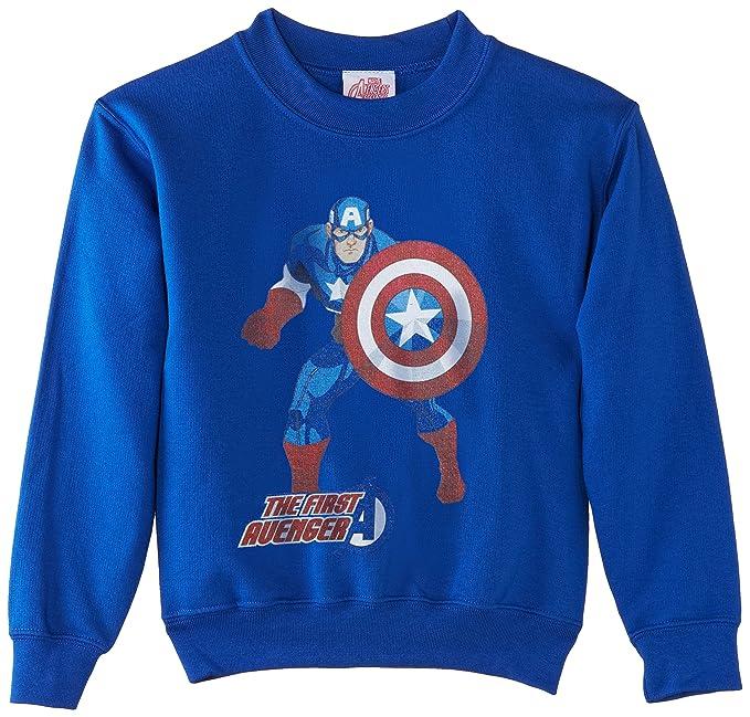 Marvel Avengers Assemble Captain America The First Avenger, Sudadera para Niños, Blau - Königsblau