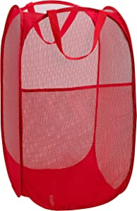 Mesh Popup Laundry Hamper - Portable, Durable Handles, Collapsible for Storage and Easy to Open. Folding Pop-Up Clothes Hampers are Great for The Kids Room, College Dorm or Travel. (Red)