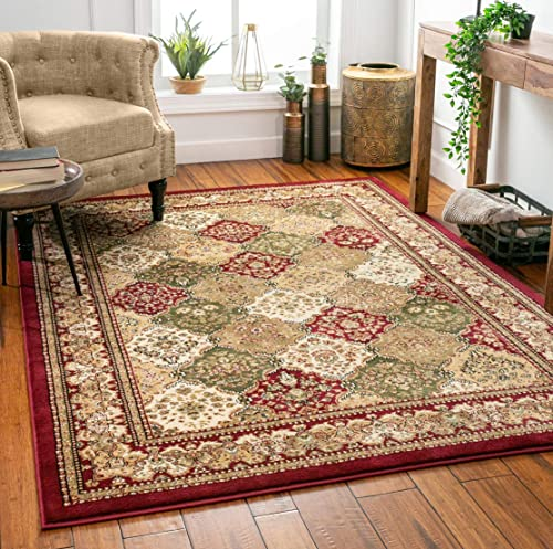 Monarch Panel Multi Color Red Oriental Area Rug Persian Formal Traditional Area Rug 8 x 11 Easy Clean Stain Fade Resistant Shed Free Modern Classic Contemporary Thick Soft Plush Living Dining Room